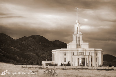 Payson Utah LDS Temple - Mountain of the Lord - Sepia