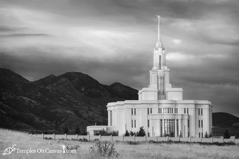 Payson Utah LDS Temple - Mountain of the Lord - Black & White