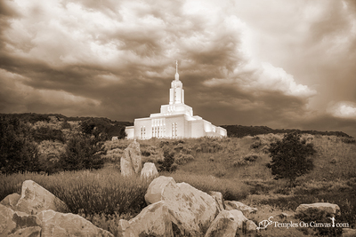 Draper Utah LDS Temple - Mountain of the Lord - Sepia