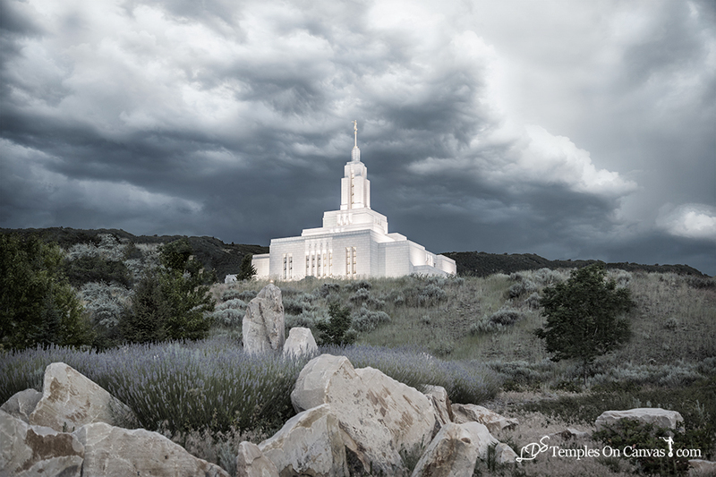 Draper Utah LDS Temple - Mountain of the Lord - Tinted Black & White