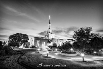 Sacramento California LDS Temple - Peaceful Dusk - Black & White