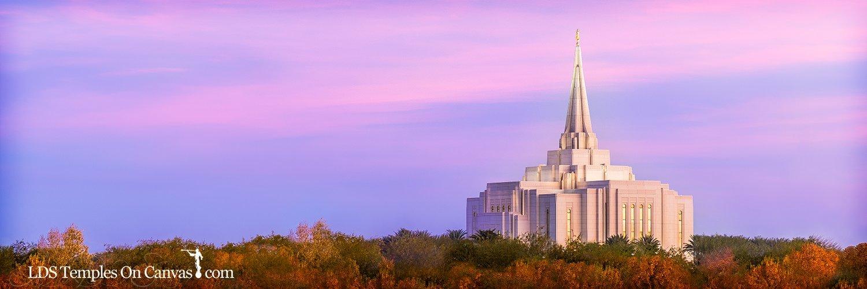 Gilbert Arizona LDS Temple - Autumn Sunset - Color - Panoramic