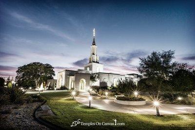 Sacramento California LDS Temple - Peaceful Dusk - Tinted Black & White