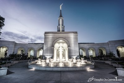 Sacramento California LDS Temple - Living Water - Tinted Black & White