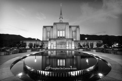 Ogden Utah LDS Temple - Reflection Pool - Black & White