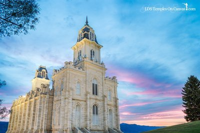 Manti Utah LDS Temple - Summer Sunset - Full Color