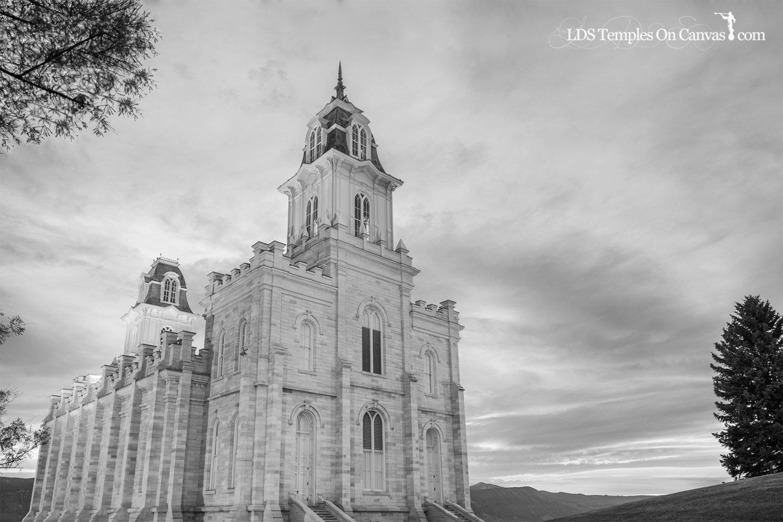 Manti Utah LDS Temple - Summer Sunset - Black & White