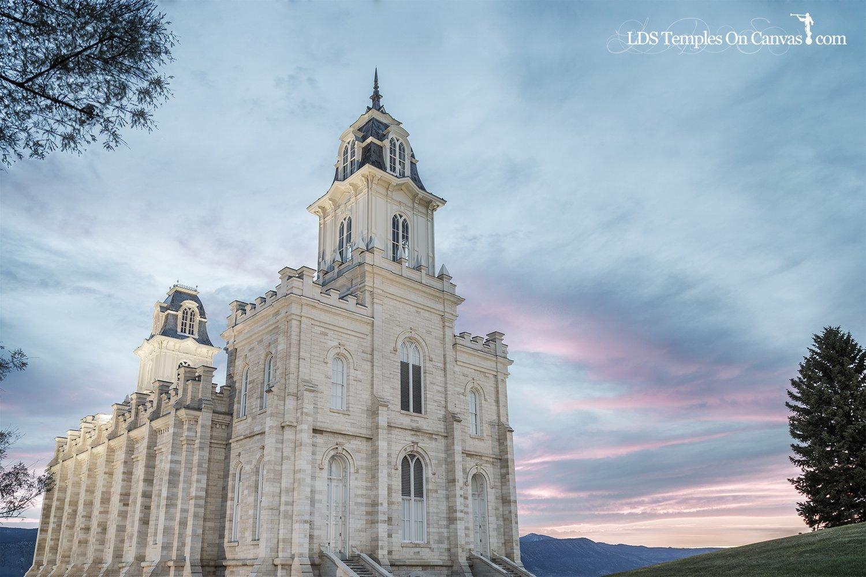 Manti Utah LDS Temple - Summer Sunset - Tinted Black & White