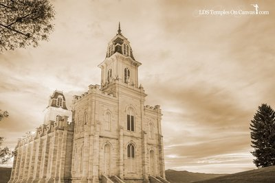 Manti Utah LDS Temple - Summer Sunset - Sepia