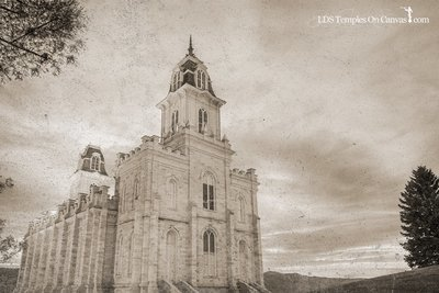 Manti Utah LDS Temple - Summer Sunset - Rustic