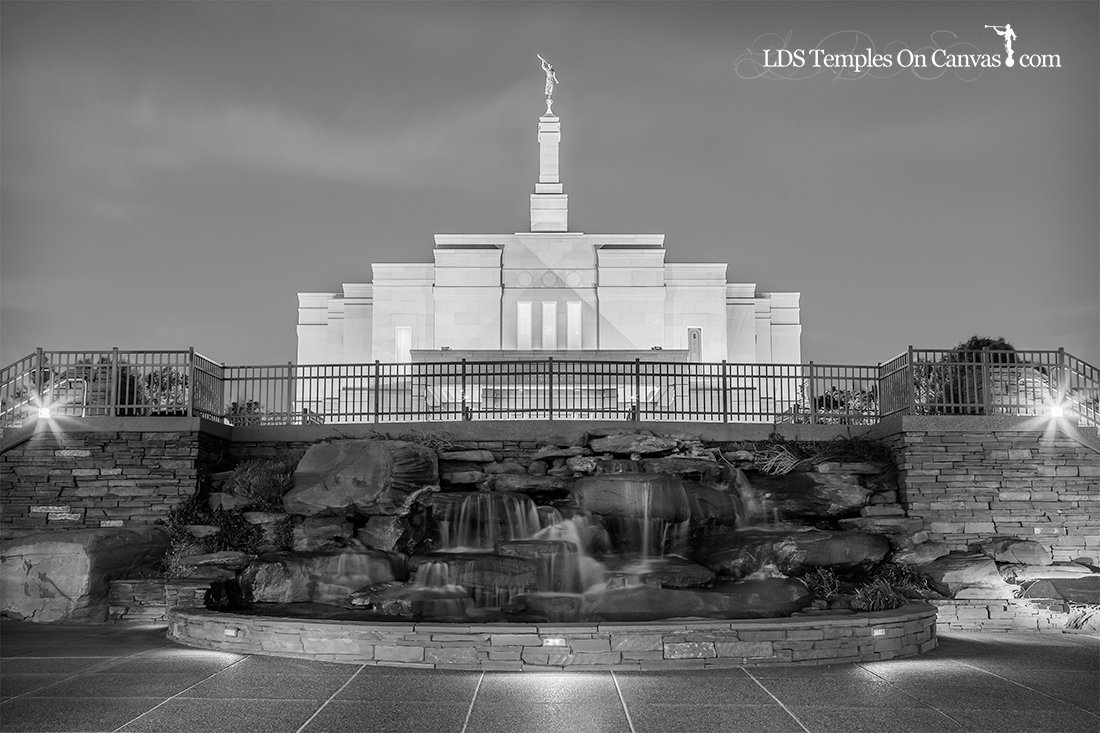 Snowflake Arizona LDS Temple - Living Water - Black and White