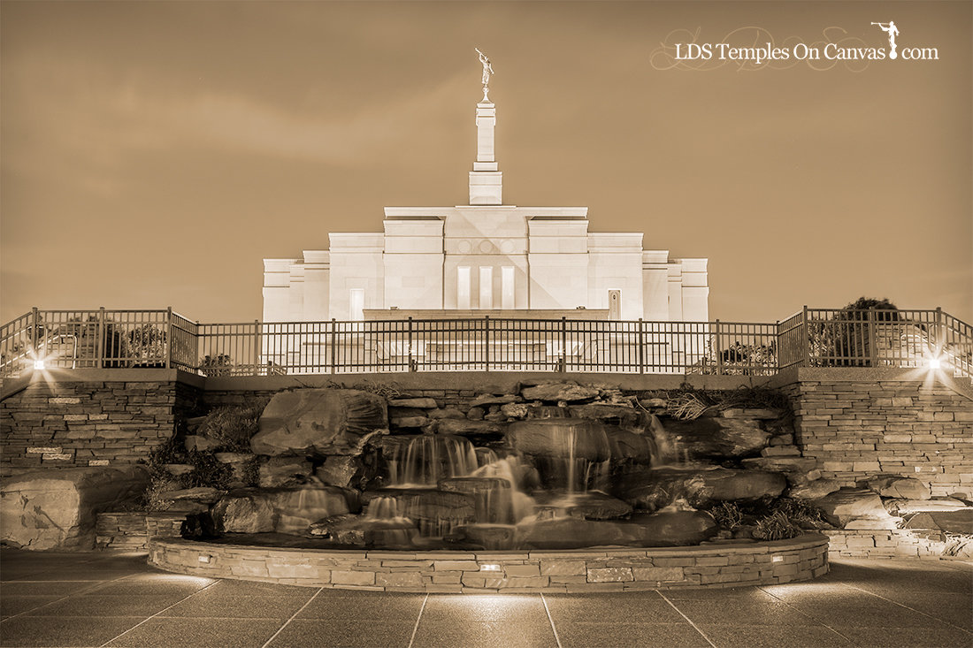 Snowflake Arizona LDS Temple - Living Water - Sepia