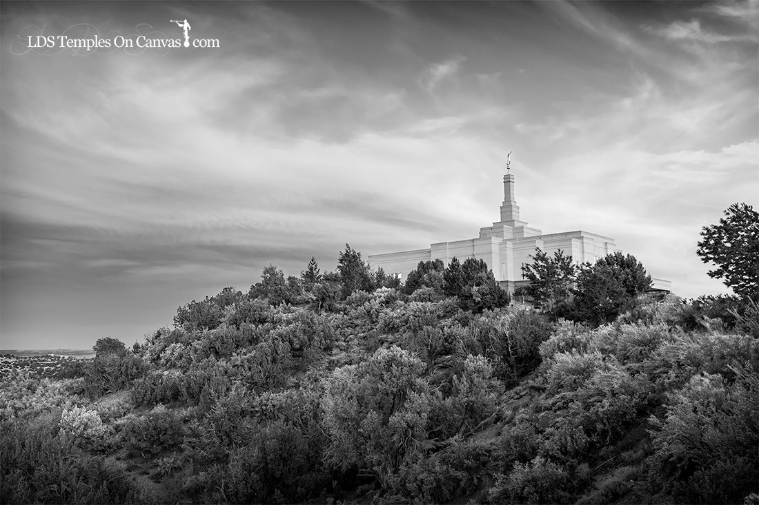 Snowflake Arizona LDS Temple - Mountain of the Lord - Black and White