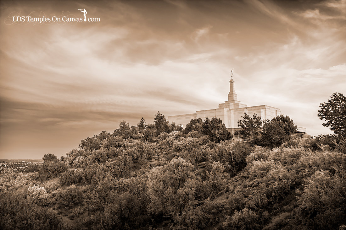 Snowflake Arizona LDS Temple - Mountain of the Lord - Sepia