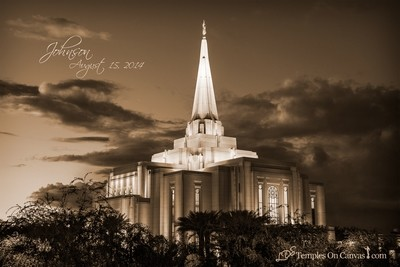 Gilbert Arizona LDS Temple - Tis Eventide - Sepia