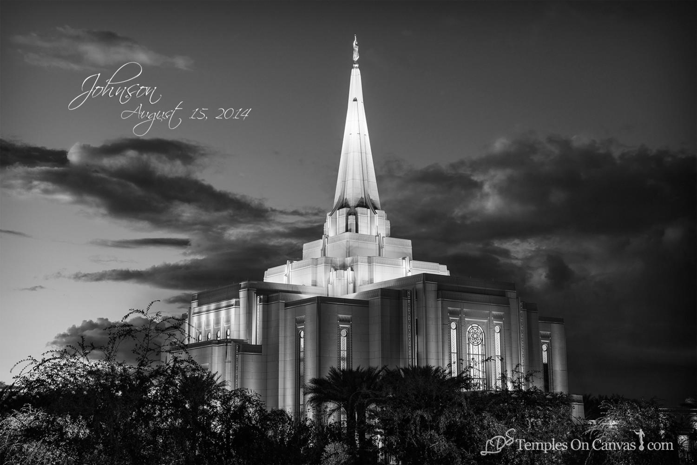 Gilbert Arizona LDS Temple - Tis Eventide - Black & White