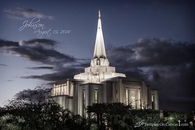 Gilbert Arizona LDS Temple - Tis Eventide - Tinted Black & White