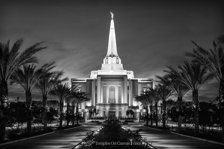 Gilbert Arizona LDS Temple - Live True - Black & White