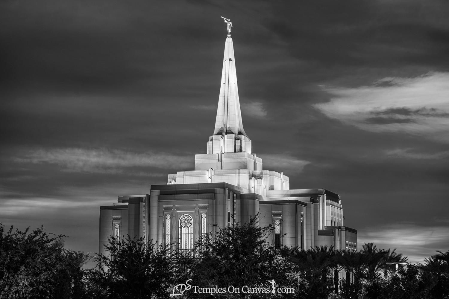 Gilbert Arizona LDS Temple - Peaceful Dusk - Black & White