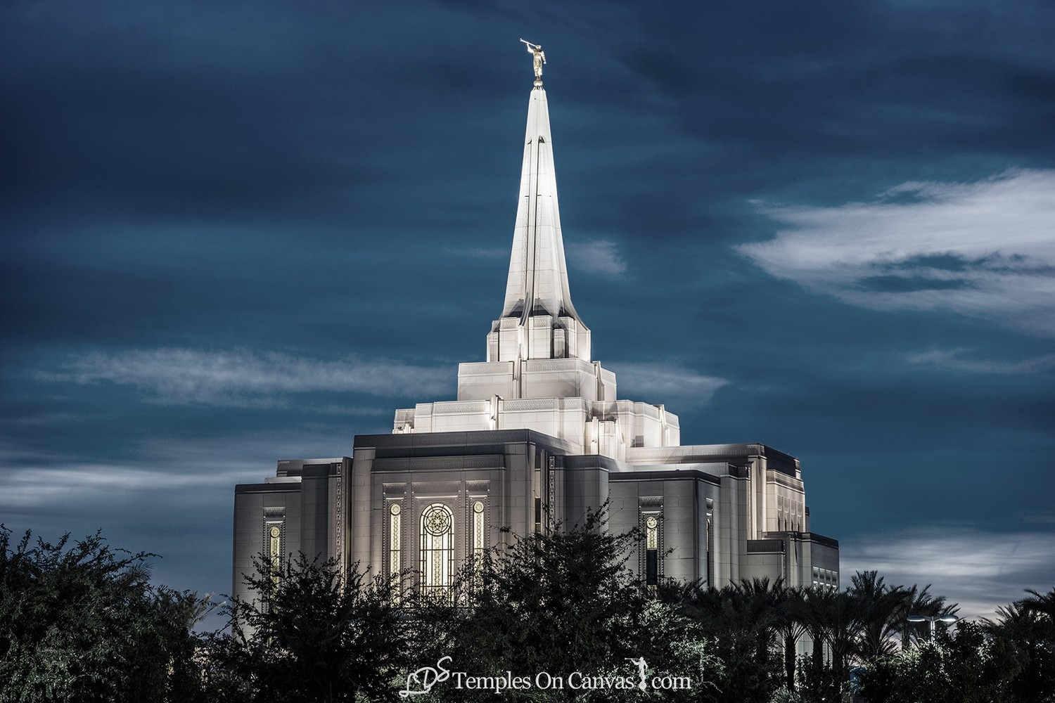 Gilbert Arizona LDS Temple - Peaceful Dusk - Tinted Black & White