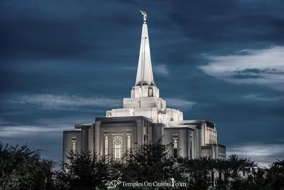 Gilbert Arizona LDS Temple - Peaceful Dusk - Tinted Black & White