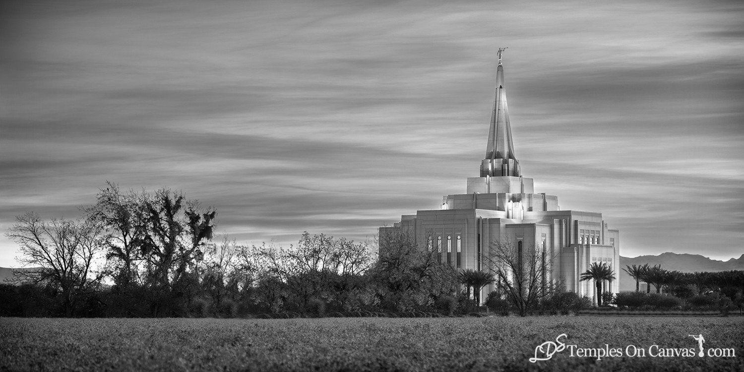 Gilbert Arizona LDS Temple - Beacon of Light - Black & White