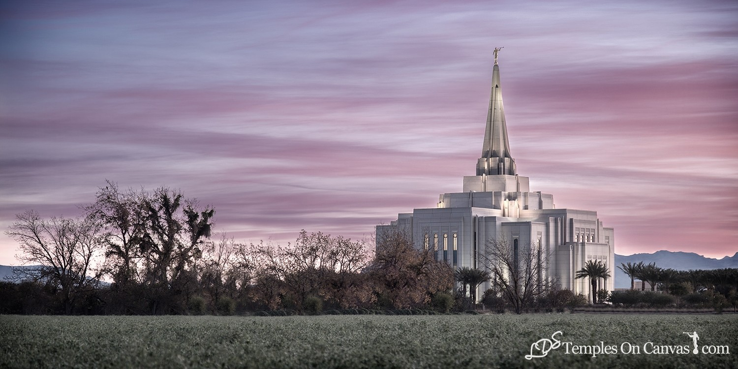 Gilbert Arizona LDS Temple - Beacon of Light - Tinted Black & White