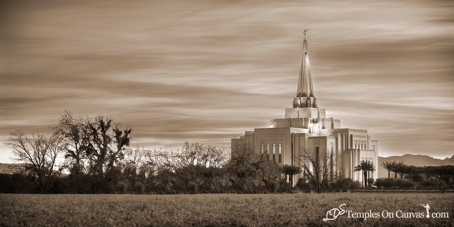 Gilbert Arizona LDS Temple - Beacon of Light - Sepia