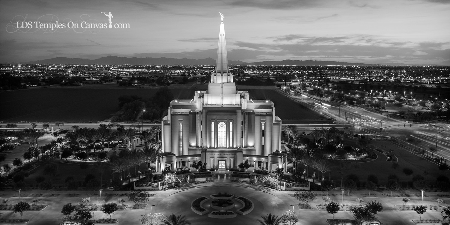 Gilbert Arizona LDS Temple - Midst of Heaven - Black & White