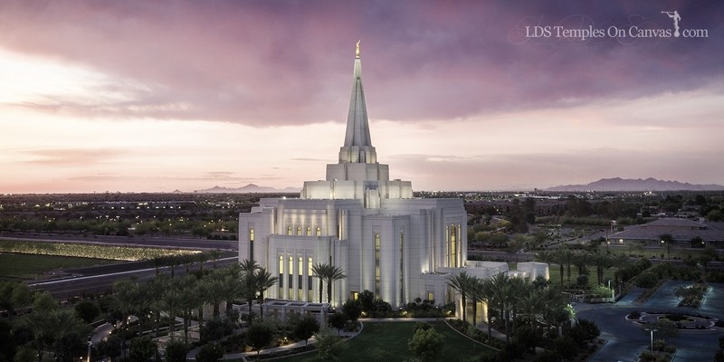 Gilbert Arizona LDS Temple - Midst of Heaven - Tinted Black & White