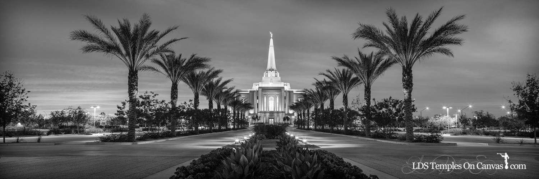 Gilbert Arizona LDS Temple - Heavenly Path - Black & White - Panoramic