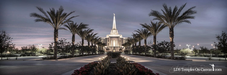 Gilbert Arizona LDS Temple - Heavenly Path - Tinted Black & White - Panoramic