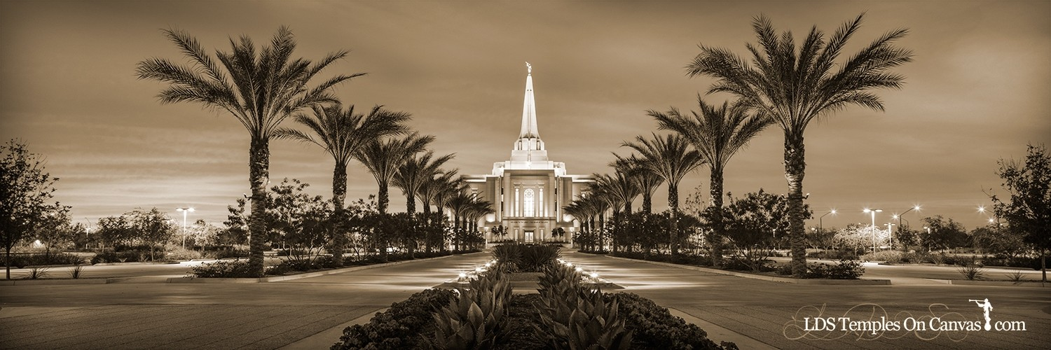 Gilbert Arizona LDS Temple - Heavenly Path - Sepia - Panoramic