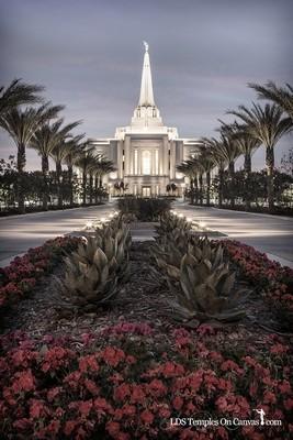 Gilbert Arizona LDS Temple - Heavenly Path - Vertical - Tinted Black & White