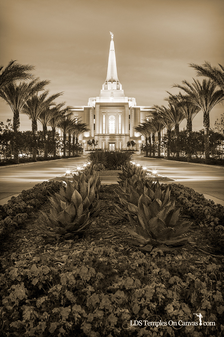 Gilbert Arizona LDS Temple - Heavenly Path - Vertical - Sepia
