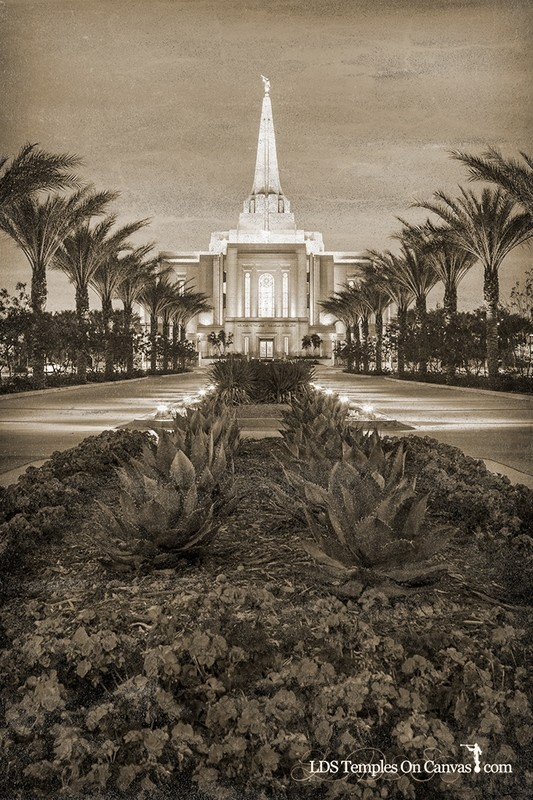Gilbert Arizona LDS Temple - Heavenly Path - Vertical - Rustic