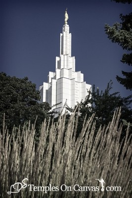 Idaho Falls Idaho Temple Art - Beacon of Light - Tinted Black & White