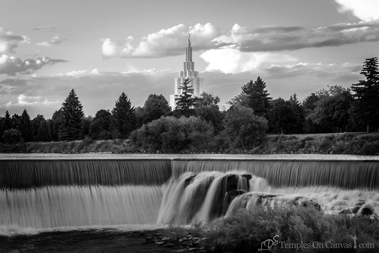 Idaho Falls ID Temple Art - Living Waters - Black & White