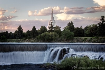 Idaho Falls ID Temple Art - Living Waters - Tinted Black & White