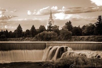 Idaho Falls ID Temple Art - Living Waters - Sepia