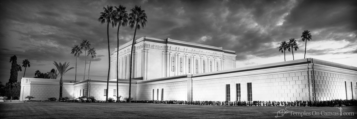 Mesa Arizona LDS Temple - Pioneer Temple - Black & White - Panoramic