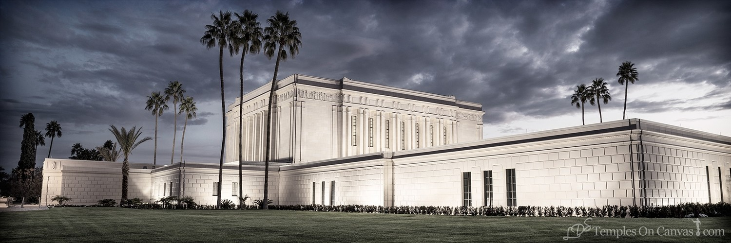 Mesa Arizona LDS Temple - Pioneer Temple - Tinted Black & White - Panoramic