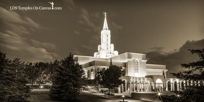 Bountiful Utah LDS Temple - Eventide - Sepia