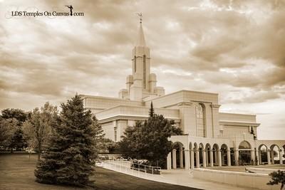 Bountiful Utah LDS Temple - Heavenward- Sepia
