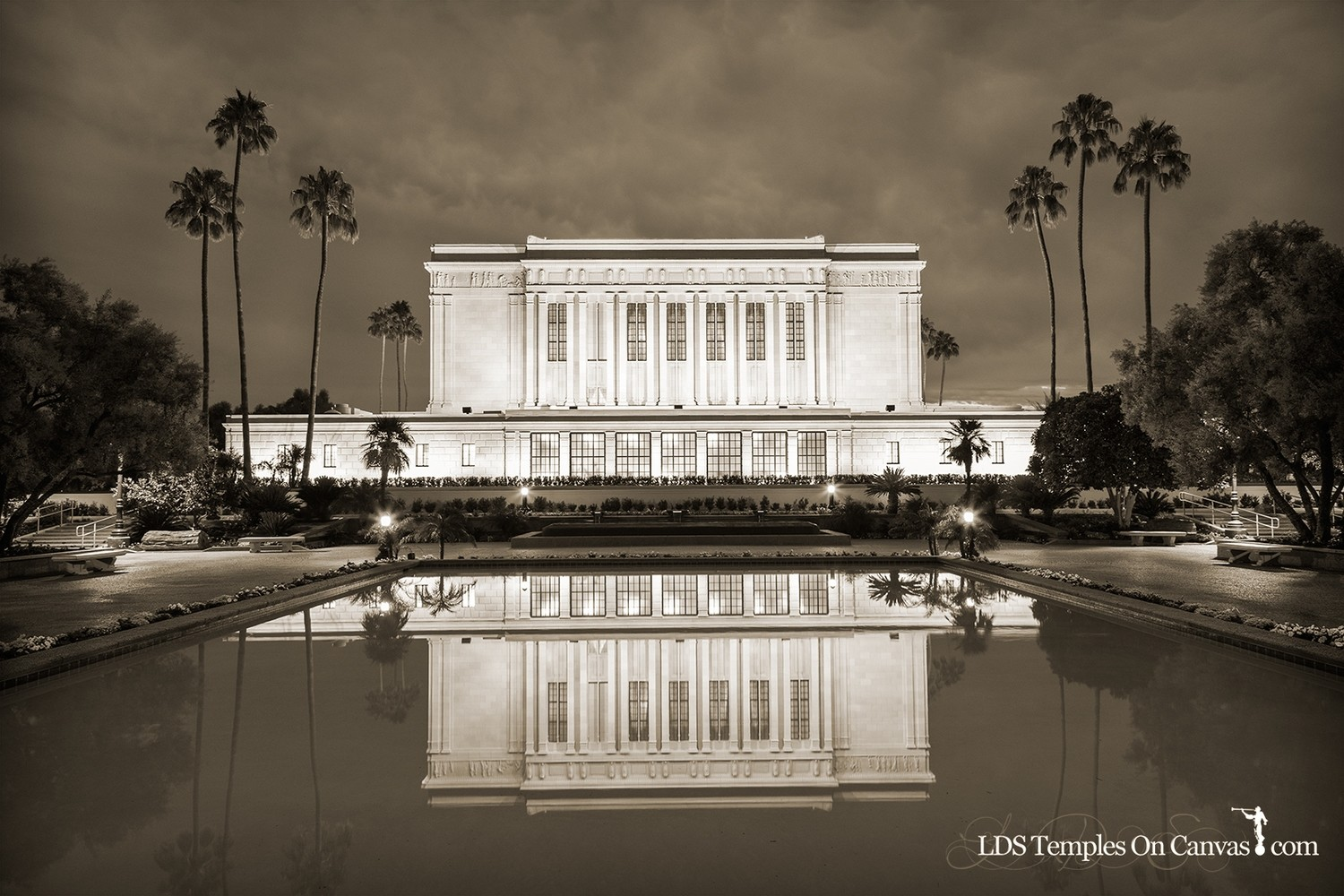 Mesa Arizona LDS Temple - Pioneer Reflections - Sepia