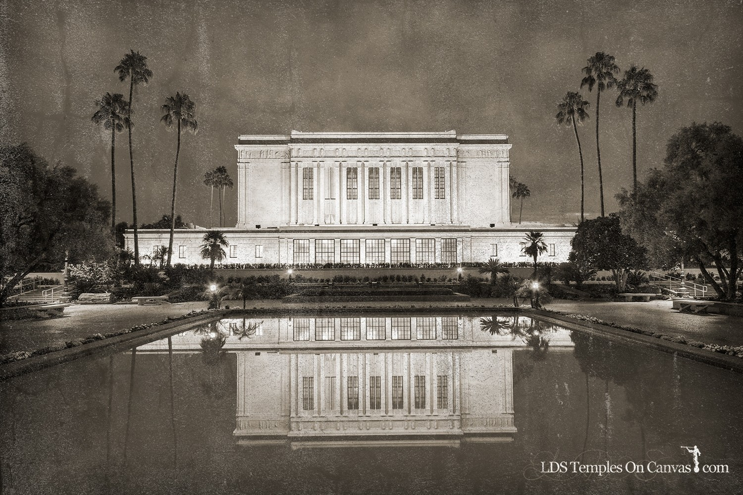Mesa Arizona LDS Temple - Pioneer Reflections - Rustic