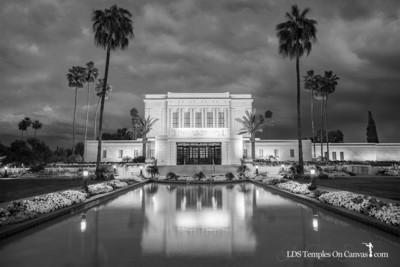Mesa Arizona LDS Temple - Tempest - Black & White