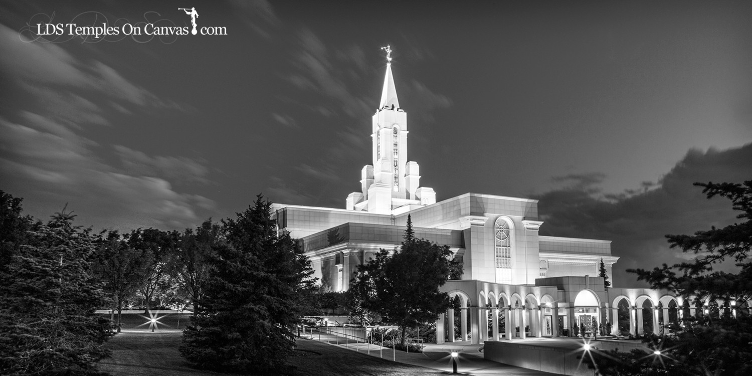 Bountiful Utah LDS Temple - Eventide - Black & White