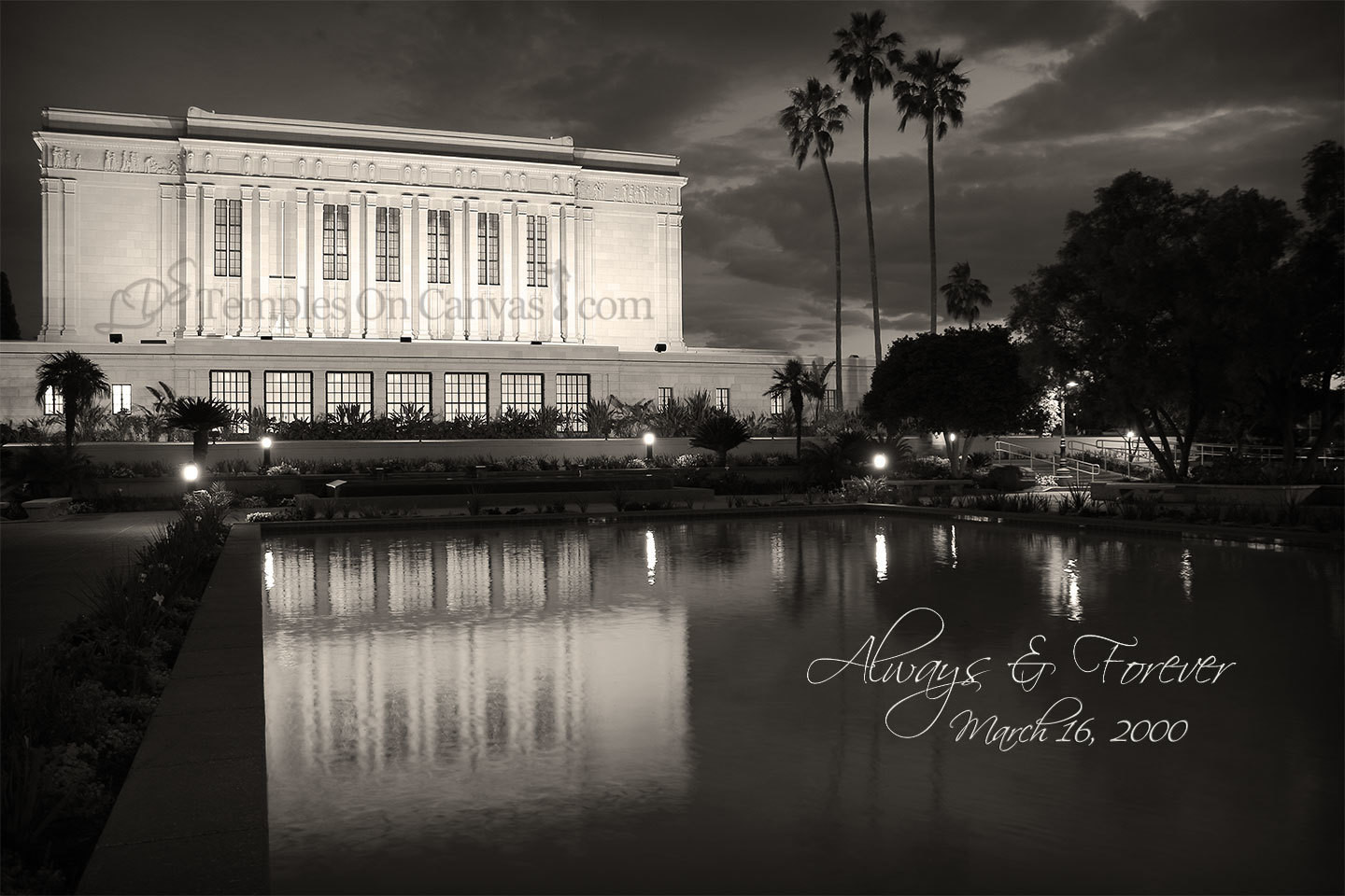 Mesa Arizona LDS Temple - Dusk Reflection - Sepia