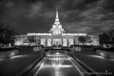 Phoenix AZ LDS Temple - Tempest - Black & White Print